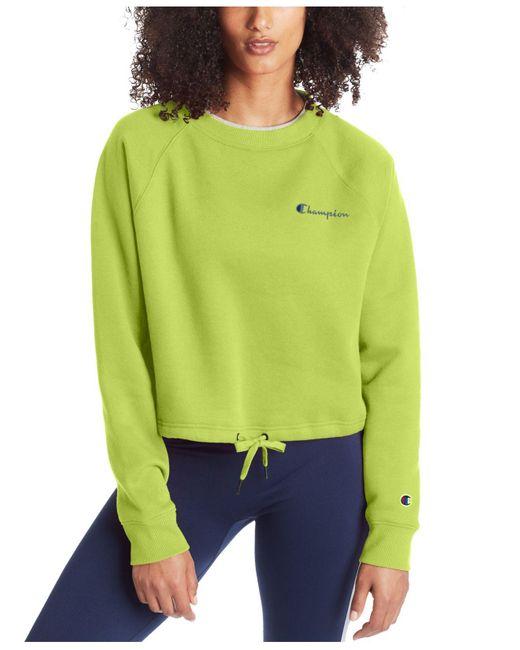 Champion Green Campus Cropped Fleece Sweatshirt