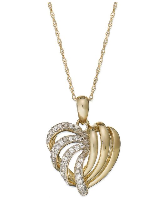 Wrapped in Love - Metallic 14k Gold Diamond Heart Pendant Necklace (1/6 Ct. T.w.) - Lyst