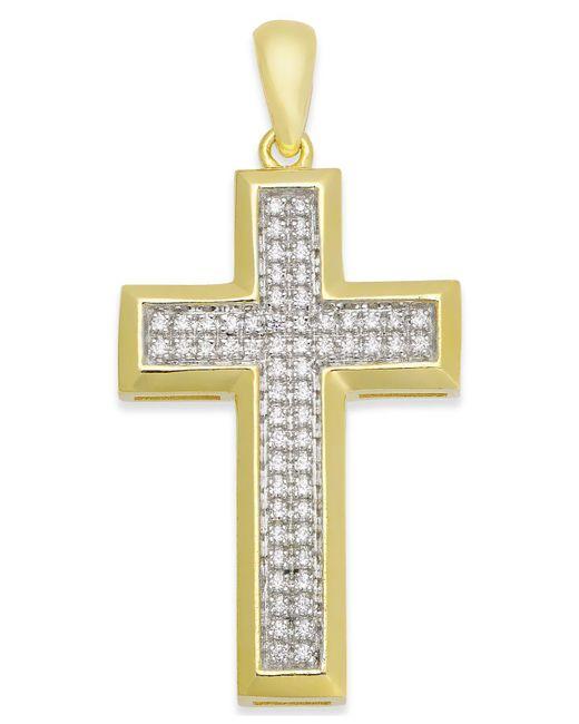Macy's - Metallic Men's Diamond Cross Pendant (1/4 Ct. T.w.) In 10k Gold - Lyst