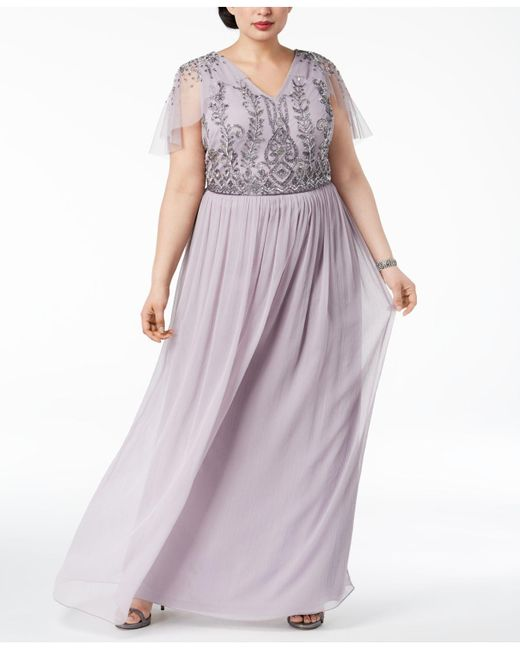 Lyst Adrianna Papell Plus Size Beaded Gown In Purple