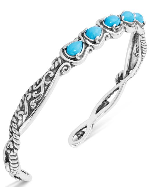 Carolyn Pollack Multicolor Turquoise Five-stone Cuff In Sterling Silver