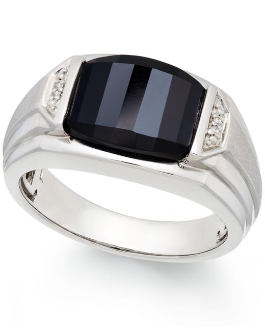 Macy's - Black Men's Onyx (4-1/2 Ct. T.w.) And Diamond Accent Ring In Sterling Silver - Lyst