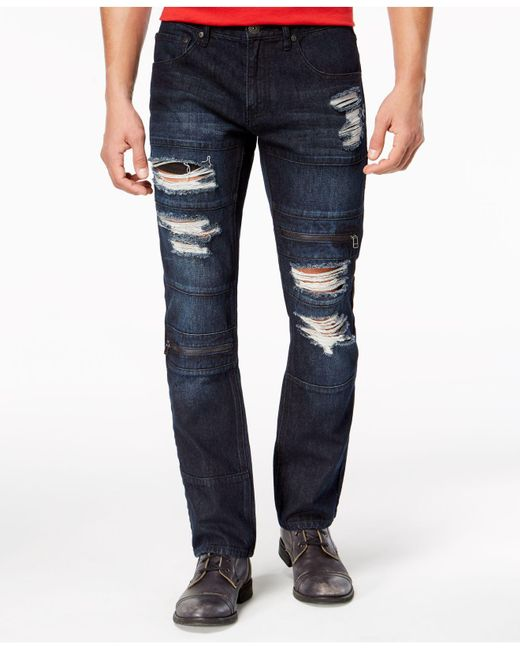 4598dc40322e INC International Concepts. Men s Blue Slim-straight Stretch Ripped Jeans  ...