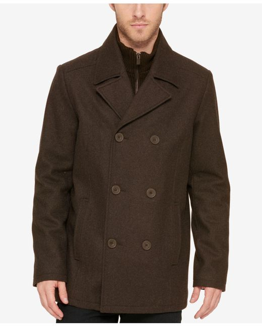 Kenneth Cole Reaction | Brown Men's Bibbed Pea Coat for Men | Lyst