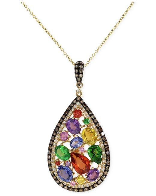 Effy Collection | Metallic Multistone (3-5/8 Ct. T.w.) And Diamond (5/8 Ct. T.w.) Pendant Necklace In 14k Gold | Lyst