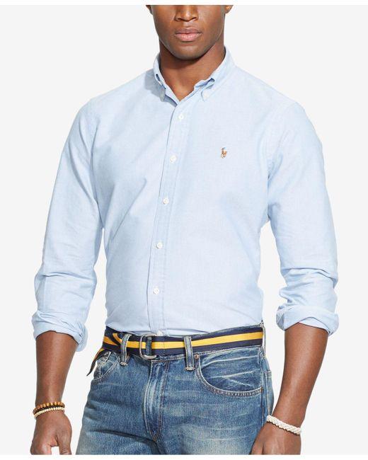 Polo Ralph Lauren | Blue Solid Oxford Shirt for Men | Lyst