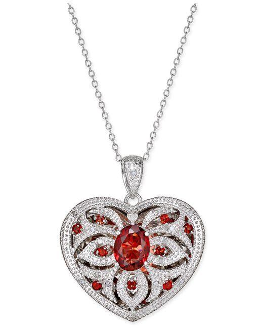 Macy's | Metallic Garnet (2 Ct. T.w.) And Diamond (1/10 Ct. T.w.) Locket Pendant Necklace | Lyst