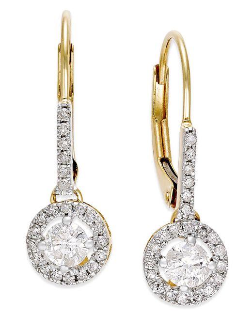 Macy's - Metallic Diamond Round Drop Earrings In 14k White Gold (1/2 Ct. T.w.) - Lyst