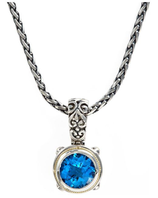 Effy Collection - Blue Topaz Round Pendant (5-3/4 Ct. T.w.) In 18k Gold And Sterling Silver - Lyst