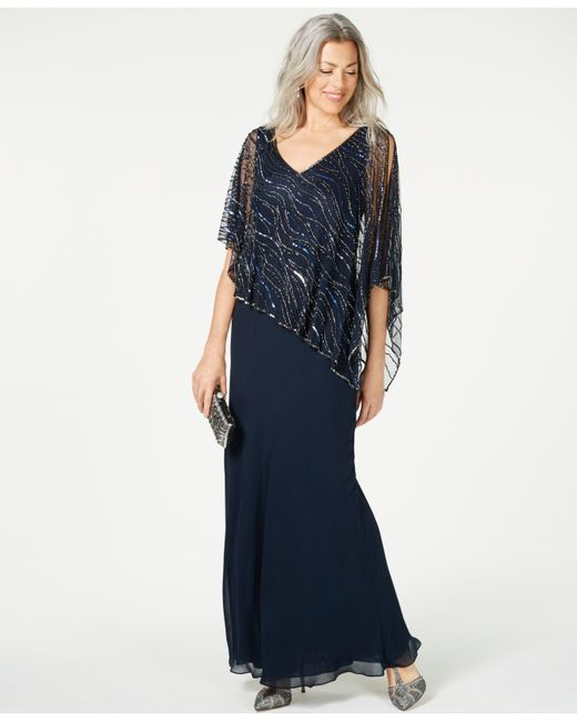 J Kara Blue Beaded V-neck Illusion-overlay Gown