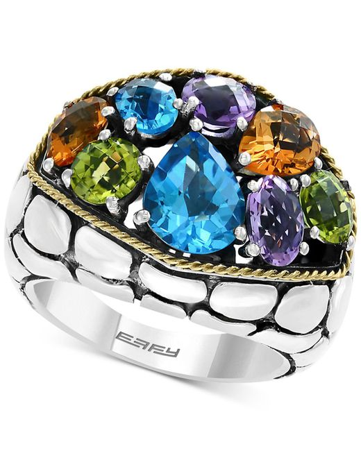 Effy Collection - Metallic Balissima By Effy® Multi-gemstone Ring (6-1/8 Ct. T.w.) In Sterling Silver & 18k Gold - Lyst