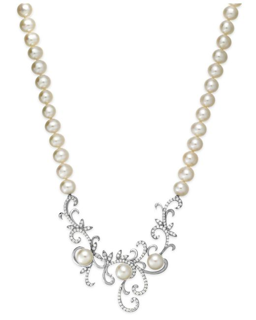 Arabella - White Cultured Freshwater Pearl (7 Mm) And Swarovski Zirconia (1-3/8 Ct. T.w.) Swirl Pendant Necklace In Sterling Silver - Lyst