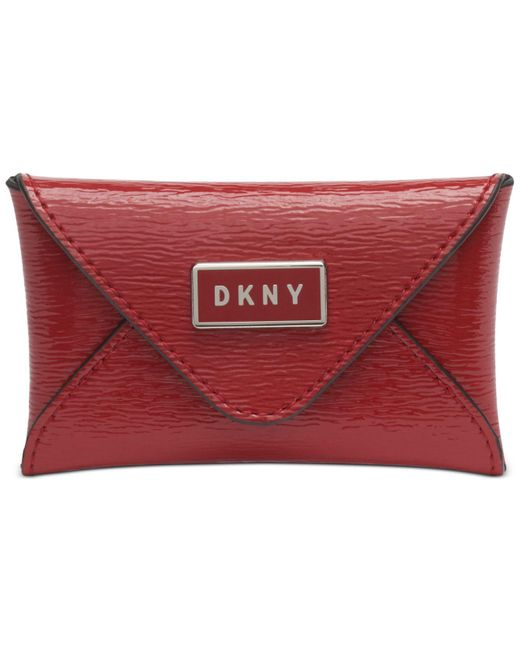 DKNY Red Gigi Leather Envelope Card Case, Created For Macy's