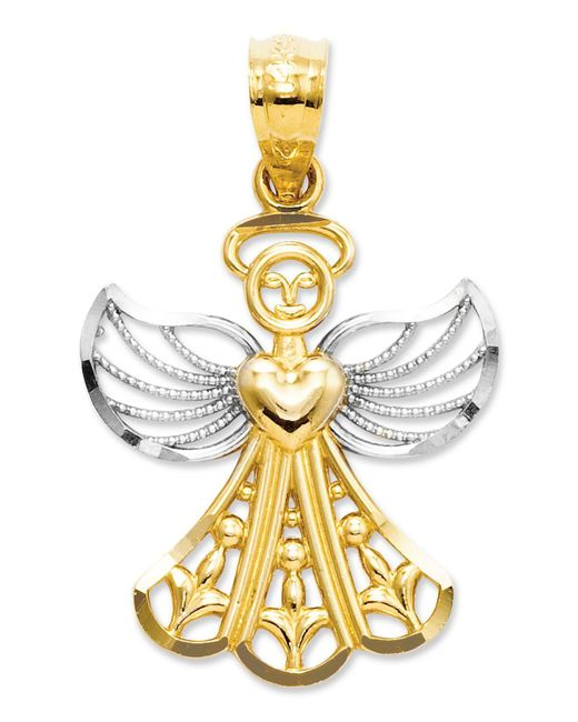 Macy's - Metallic 14k Gold And Sterling Silver Charm, Filigree Angel Charm - Lyst