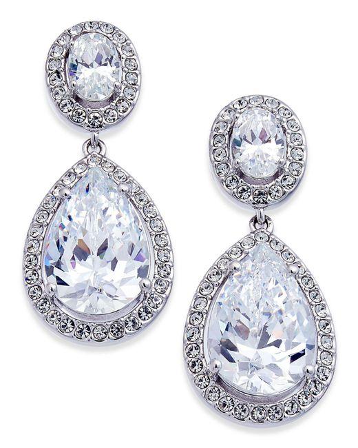 Danori - Metallic Silver-tone Crystal Teardrop Drop Earrings - Lyst