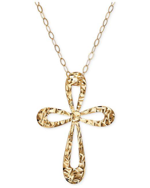 Macy's | Metallic Textured Open Cross Pendant Necklace In 10k Gold | Lyst