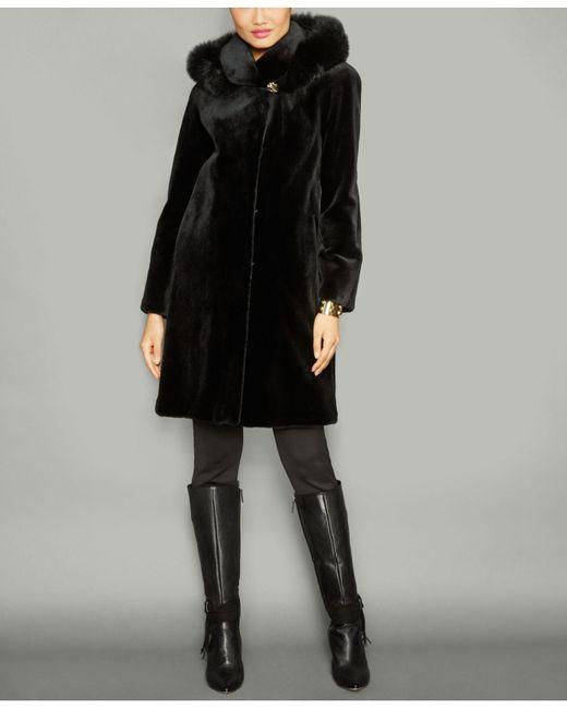 The Fur Vault Black Fox-fur-trim Hooded Mink Fur Coat
