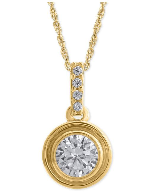 Macy's - Metallic Diamond Bezel Pendant Necklace (1/4 Ct. T.w.) - Lyst