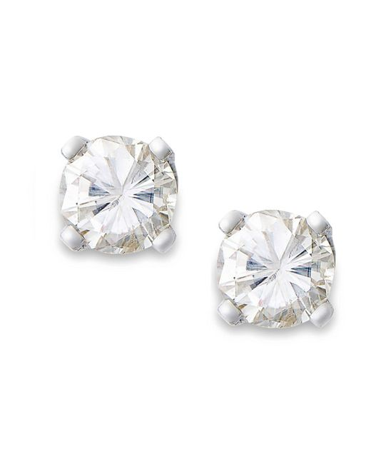 Macy's | Metallic Round-cut Diamond Earrings In 10k Gold (1/6 Ct. T.w.) | Lyst