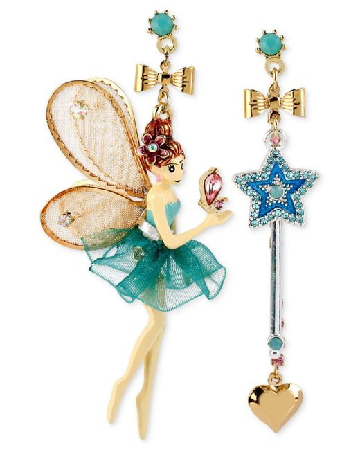 Betsey Johnson - Metallic Antique Gold-tone Fairy And Wand Mismatch Drop Earrings - Lyst