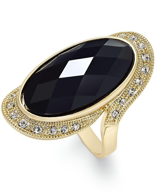 INC International Concepts - Black Gold-tone Large Jet Stone And Pavé Statement Ring - Lyst