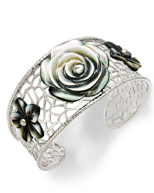 Macy's | Metallic Sterling Silver Cuff Bracelet, Cultured Tahitian Mother Of Pearl Flower Bangle | Lyst