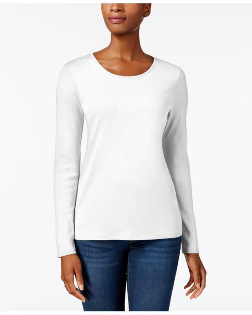 Charter Club White Pima Cotton Long-sleeve Top, Created For Macy's