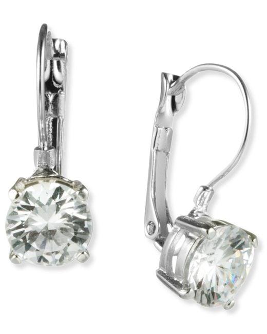 Nine West - Metallic Earrings, Silver-tone Round-cut Crystal Drop Earrings - Lyst