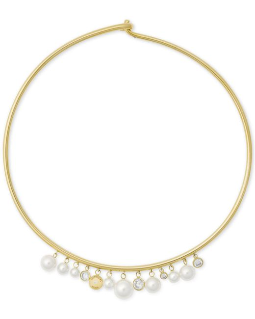 Michael Kors - Metallic Gold-tone Cubic Zirconia & Imitation Pearl Hinged Choker Necklace - Lyst