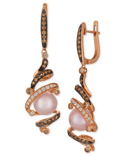 Le Vian - Metallic Strawberry Pearls® (8-1/2mm) & Diamond (5/8 Ct. T.w.) Drop Earrings In 14k Rose Gold - Lyst