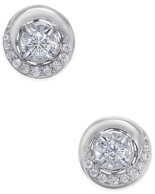 Macy's - Metallic Diamond Swirl Stud Earrings (1/4 Ct. T.w.) In 14k Rose Or White Gold - Lyst