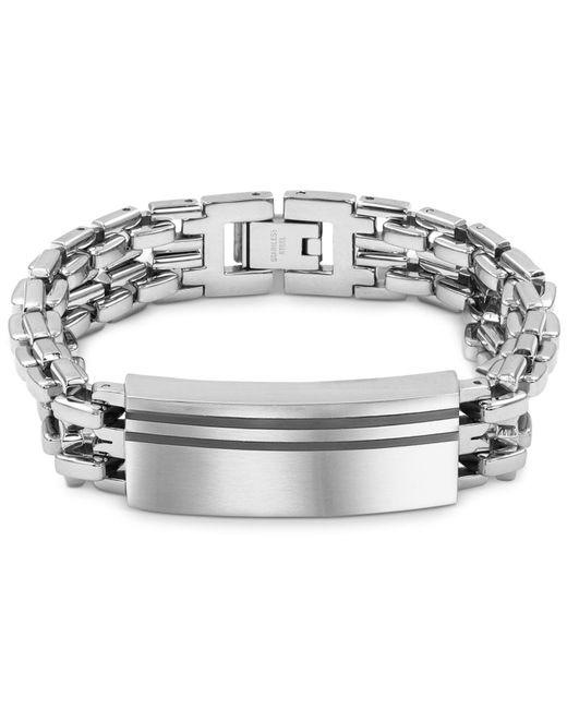 Macy's Metallic Enamel Accent Id Bracelet In Stainless Steel