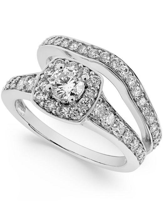 Macy's - Metallic Diamond Frame Bridal Set (1-1/4 Ct. T.w.) In 14k White Gold - Lyst