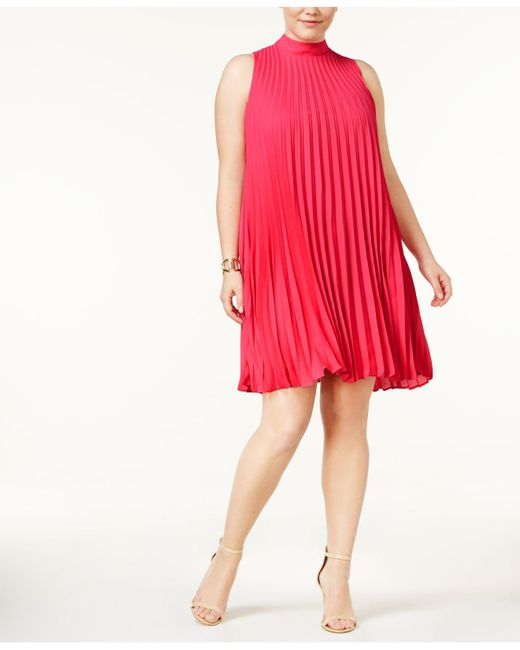 Soprano - Red Plus Size High-neck Pleated Shift Dress - Lyst