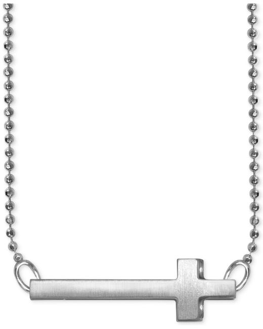 Alex Woo - Metallic Side Cross Beaded Pendant Necklace In Sterling Silver - Lyst