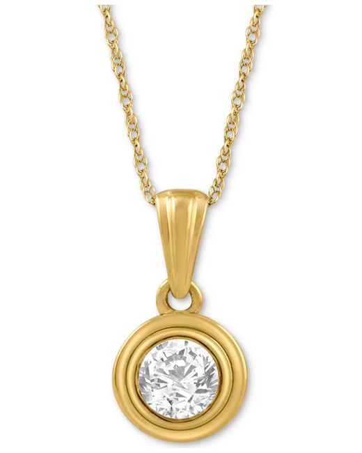 Macy's - Metallic Diamond Pendant Necklace (1/5 Ct. T.w.) In 14k Gold - Lyst