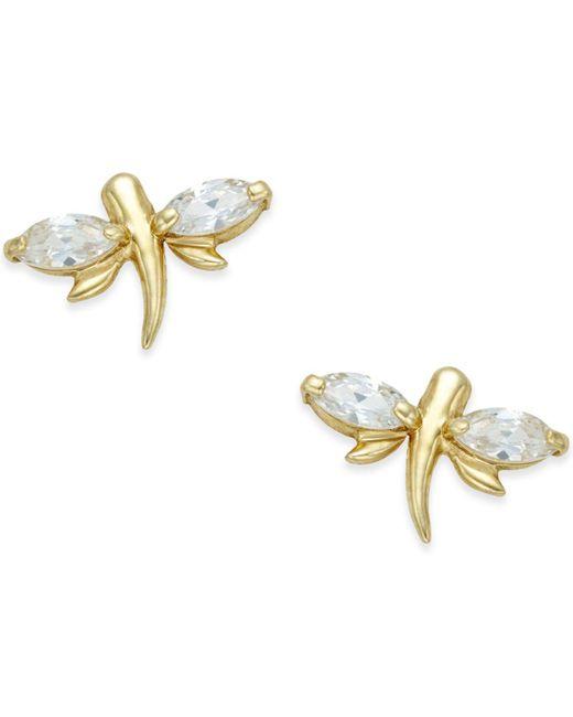 Macy's | Metallic Cubic Zirconia Dragonfly Stud Earrings (3/5 Ct. T.w.) In 10k Gold | Lyst