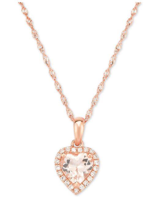 Macy's - Metallic Morganite (5/8 Ct. T.w.) & Diamond Accent Heart Pendant Necklace In 14k Rose Gold - Lyst