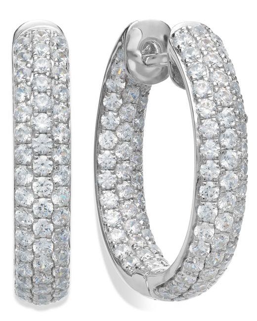 Arabella - Metallic Sterling Silver Swarovski Zirconia Pave Hoop Earrings (8-1/2 Ct. T.w.) - Lyst