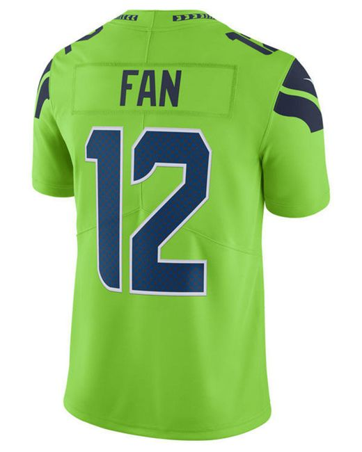 new products 64e3a c5b74 Men's Green Fan #12 Seattle Seahawks Limited Color Rush Jersey