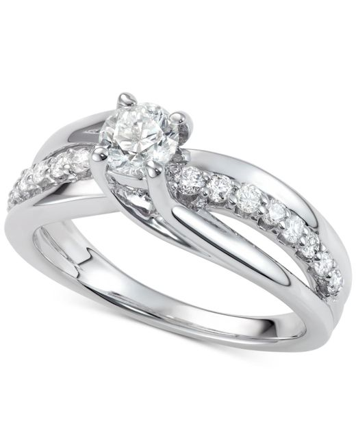 Macy's | Metallic Diamond Elevated Twist Engagement Ring (7/8 Ct. T.w.) In 14k White Gold | Lyst