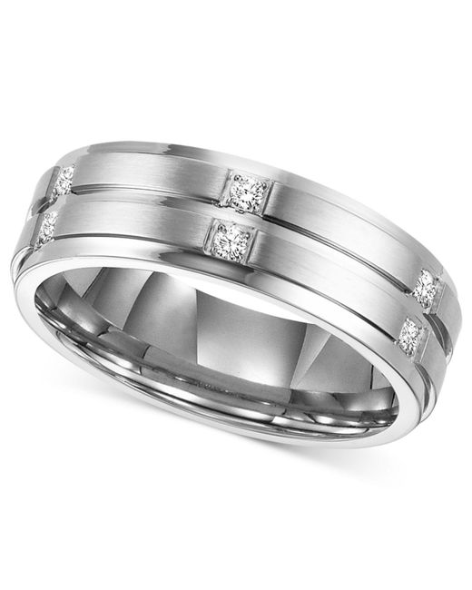 Triton - Metallic Men's Diamond Wedding Band Ring In Stainless Steel (1/6 Ct. T.w.) for Men - Lyst