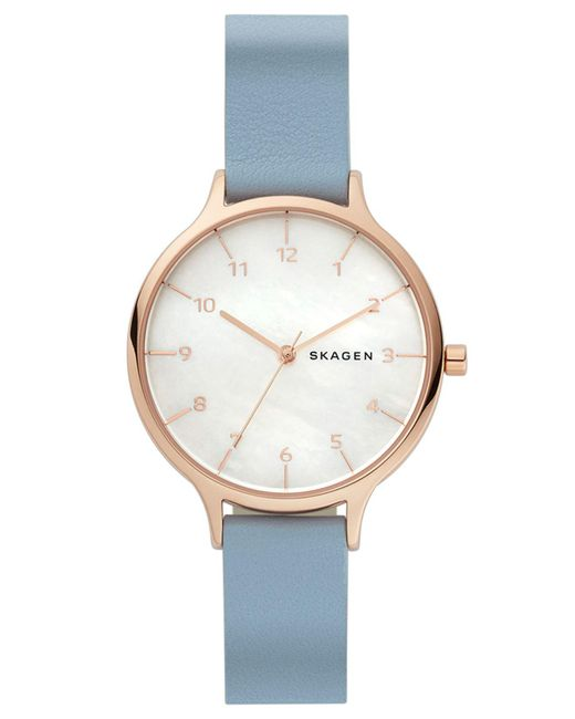 Skagen - Metallic Anita Blue Leather Strap Watch 36mm - Lyst