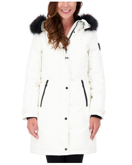 Vince Camuto White Faux-fur-trim Hooded Parka, Created For Macy's