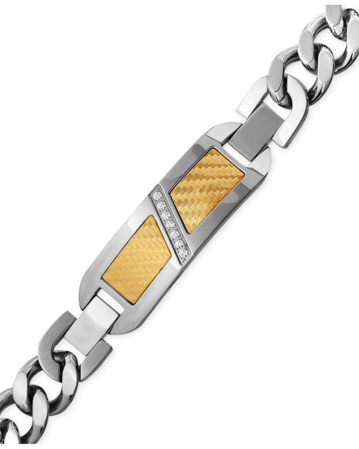Macy's | Metallic Men's Diamond (1/10 Ct. T.w.) Decorative Plate Heavy Link Bracelet In Stainless Steel With 18k Gold Inlay for Men | Lyst