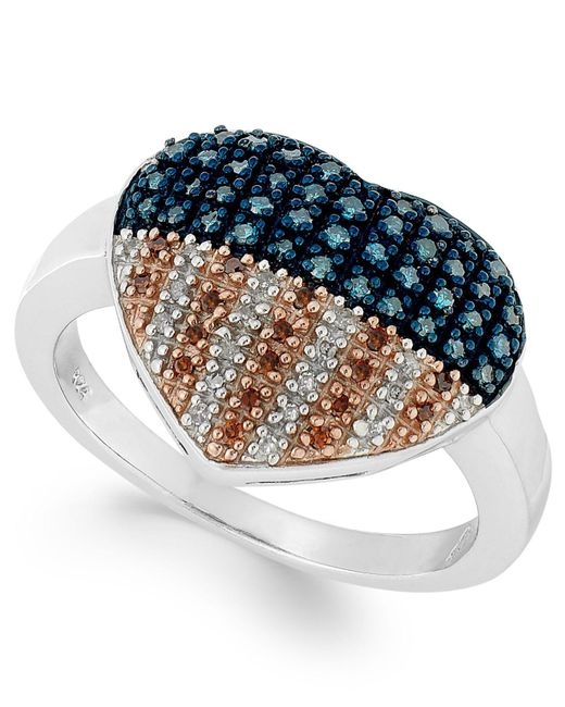 Macy's - Multicolor Stelring Silver Ring, Diamond And Diamond Accent Flag Heart Ring (1/3 Ct. T.w.) - Lyst