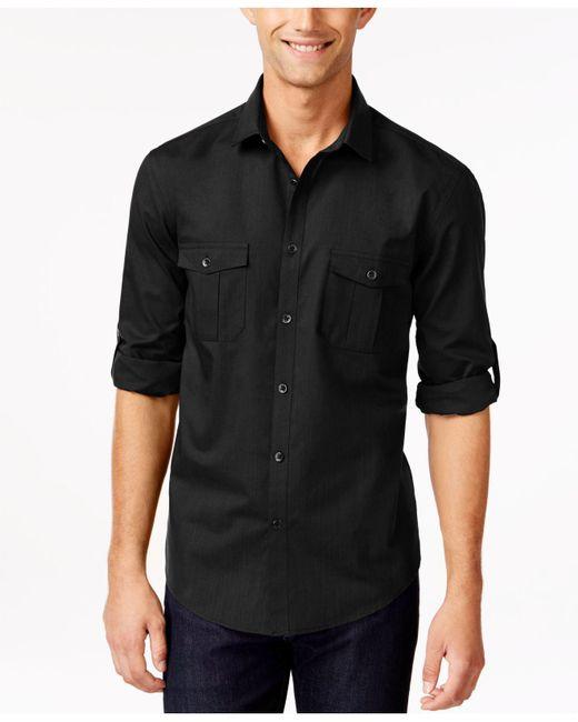 Alfani Black Long-sleeve Warren Shirt for men