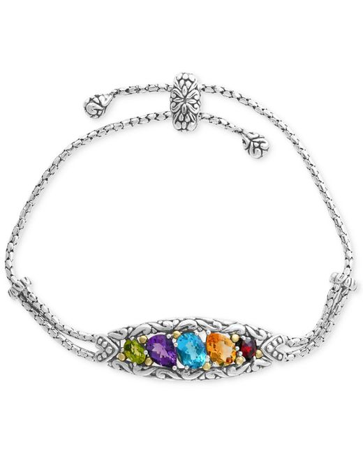 Effy Collection - Metallic Multi-gemstone Bolo Bracelet (4-7/8 Ct. T.w.) In Sterling Silver & 18k Gold - Lyst