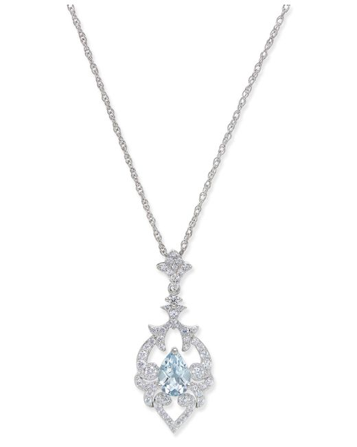 Macy's - Metallic Aquamarine (5/8 Ct. T.w.) And Diamond (1/3 Ct. T.w.) Pendant Necklace In 14k White Gold - Lyst