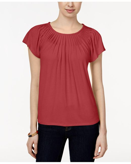 Style & Co. | Red Pleated-neck Top, Only At Macy's | Lyst